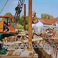 Our crane helps us to build bulkheads, docks, piers, etc.