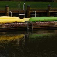 floats holding kayaks